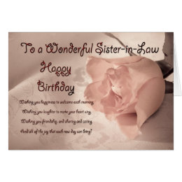 Sister in law birthday cards invitations zazzle elegant rose birthday card for sister in law bookmarktalkfo Image collections