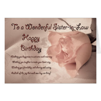 Elegant rose birthday card for sister in law