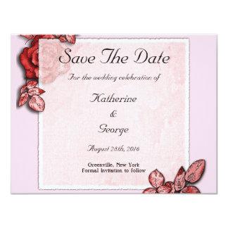 Elegant Rose design Save The Date 11 Cm X 14 Cm Invitation Card