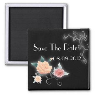 Elegant Rose Floral Vintage Wedding Favor Square Magnet