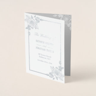 Elegant Rose Frame Silver Foil Wedding Program