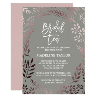 Elegant Rose Gold and Gray Bridal Tea Party Card