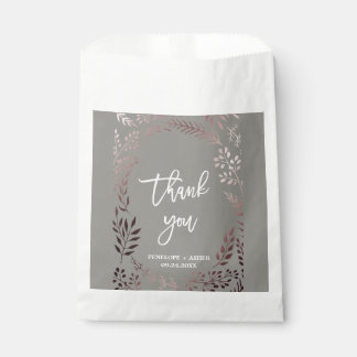 Elegant Rose Gold and Gray   Leafy Frame Wedding Favour Bags