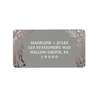 Elegant Rose Gold and Gray | Leafy Frame Wedding Label