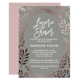 Elegant Rose Gold and Gray Lingerie Shower Card