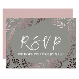Elegant Rose Gold and Gray Menu Choice RSVP Card