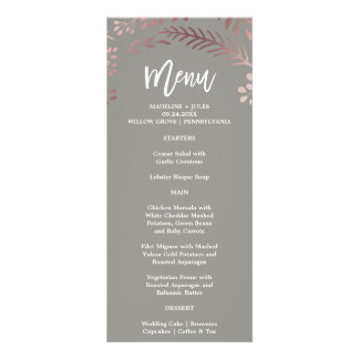 Elegant Rose Gold and Gray Wedding Menu Card