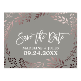 Elegant Rose Gold and Gray Wedding Save the Date Postcard
