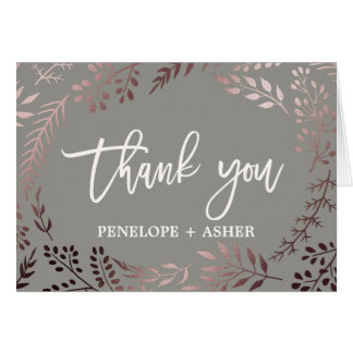 Elegant Rose Gold and Gray Wedding Thank You Card