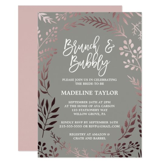 Elegant Rose Gold and Grey Brunch and Bubbly