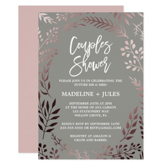 Elegant Rose Gold and Grey Couples Shower Card