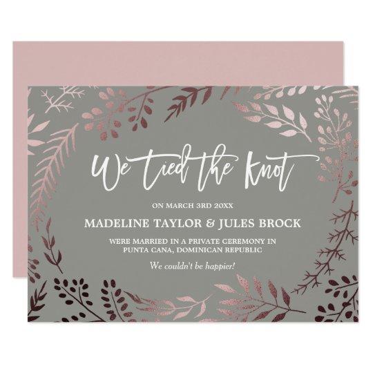 Elegant Rose Gold and Grey Elopement Announcement