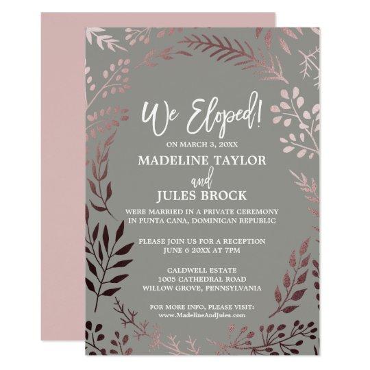 Elegant Rose Gold and Grey Elopement Reception Card