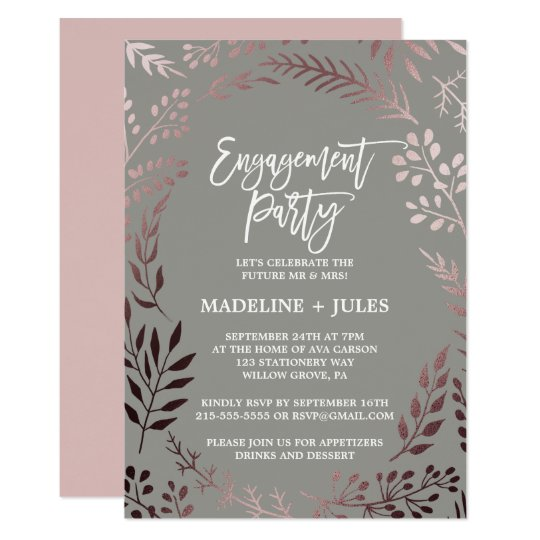 Elegant Rose Gold and Grey Engagement Party Card