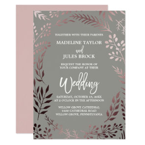 Elegant Rose Gold and Grey | Leafy Frame Wedding Invitation