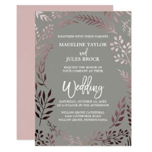 Elegant Rose Gold and Grey   Leafy Frame Wedding Invitation