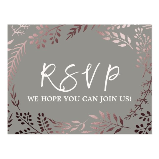 Elegant Rose Gold and Grey Song Request RSVP