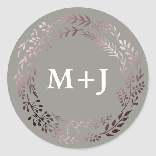 Elegant Rose Gold and Grey Wedding Envelope Seals