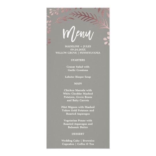 Elegant Rose Gold and Grey Wedding Menu Card