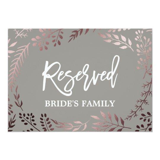 """Elegant Rose Gold and Grey Wedding """"Reserved"""" Sign"""
