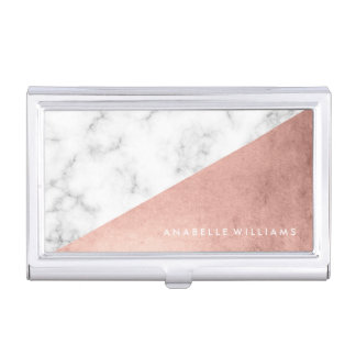 Elegant Rose Gold and Marble Texture Business Card Holder