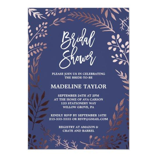 Elegant Rose Gold and Navy Bridal Shower Card