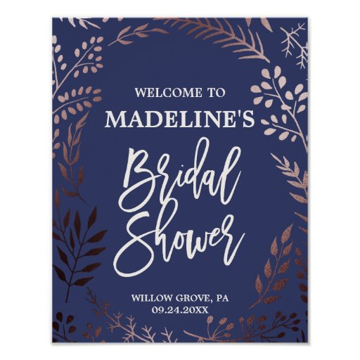 Elegant Rose Gold and Navy Bridal Shower Welcome