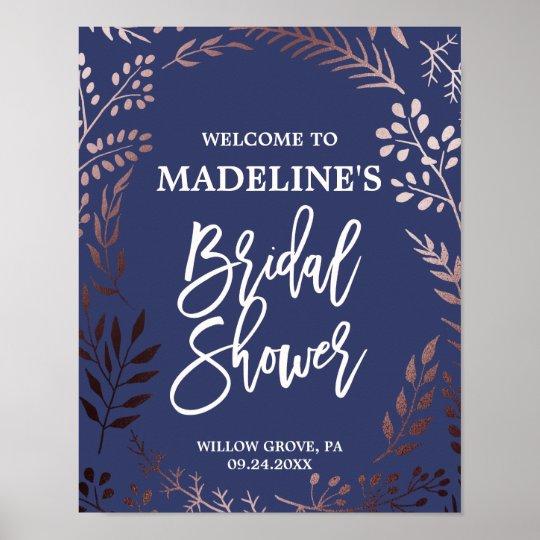 Elegant Rose Gold and Navy Bridal Shower Welcome