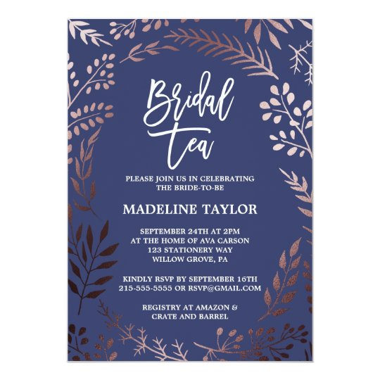 Elegant Rose Gold and Navy Bridal Tea Party