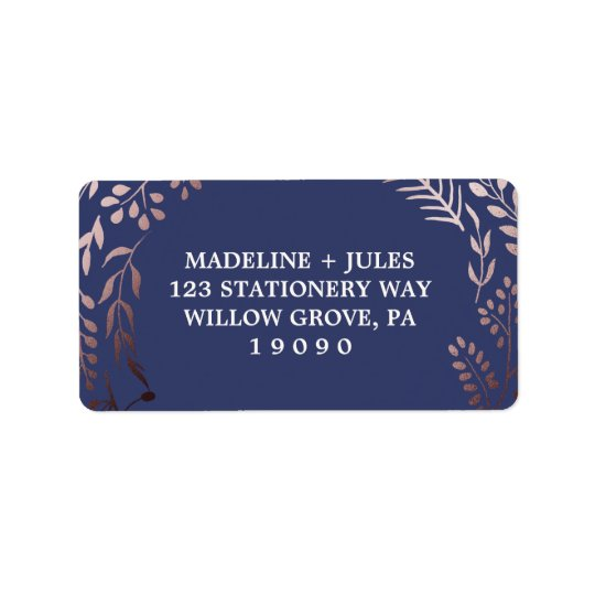 Elegant Rose Gold and Navy | Leafy Frame Wedding Address Label