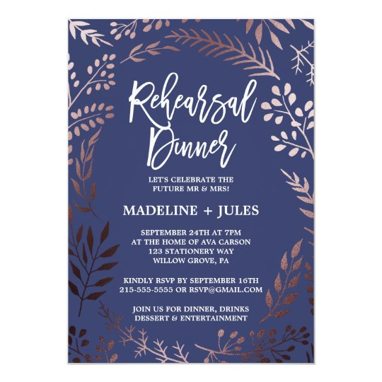 Elegant Rose Gold and Navy Rehearsal Dinner Card