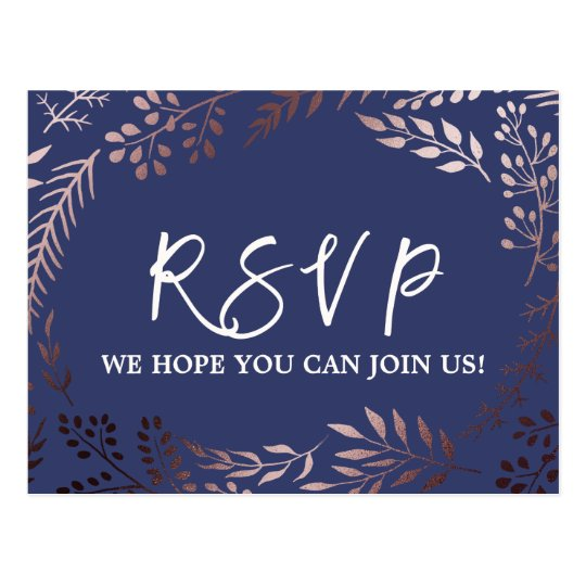 Elegant Rose Gold and Navy Song Request RSVP