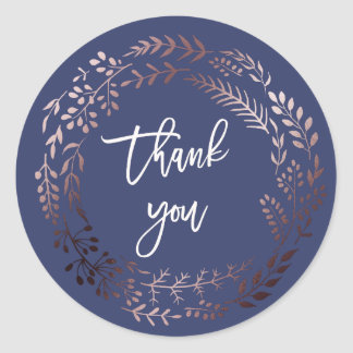 Elegant Rose Gold and Navy Thank You Wedding Favor Round Sticker