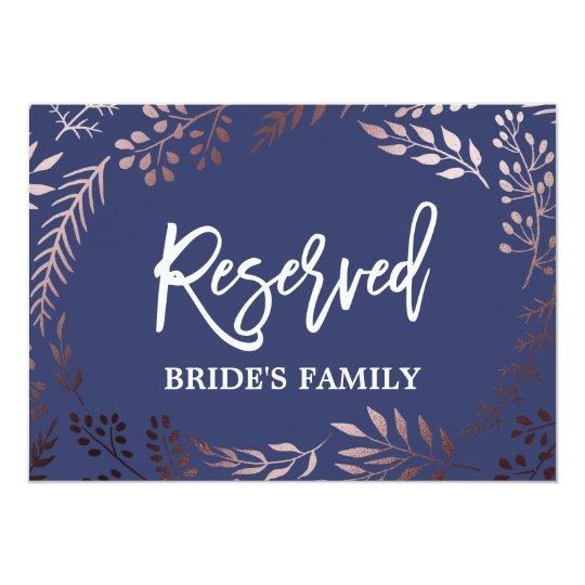 "Elegant Rose Gold and Navy Wedding ""Reserved"" Sign"