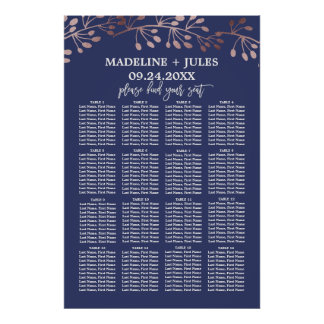 Elegant Rose Gold and Navy Wedding Seating Chart