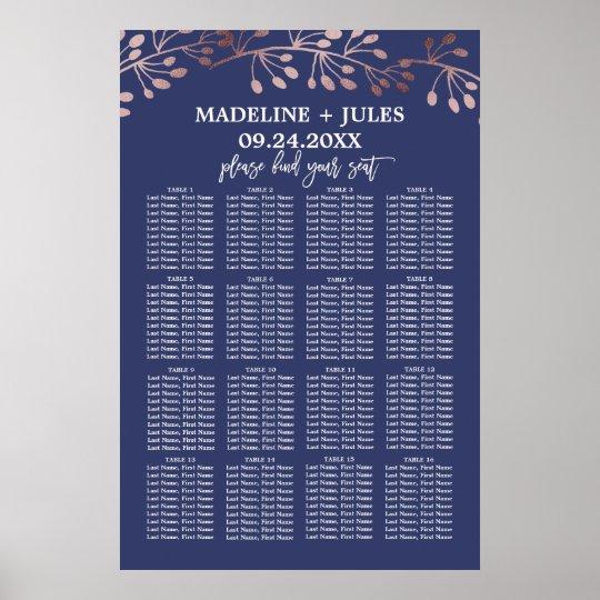 Elegant Rose Gold and Navy Wedding Seating Chart
