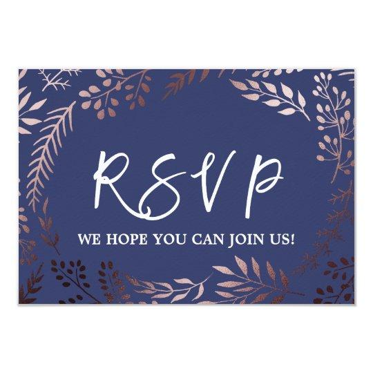 Elegant Rose Gold and Navy Wedding Website RSVP