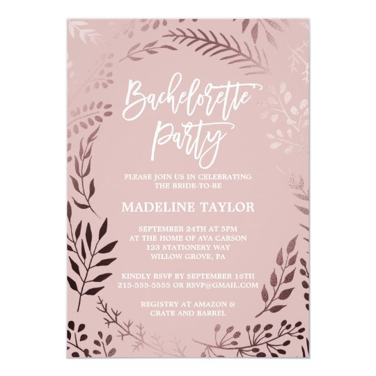 Elegant Rose Gold and Pink Bachelorette Party Card
