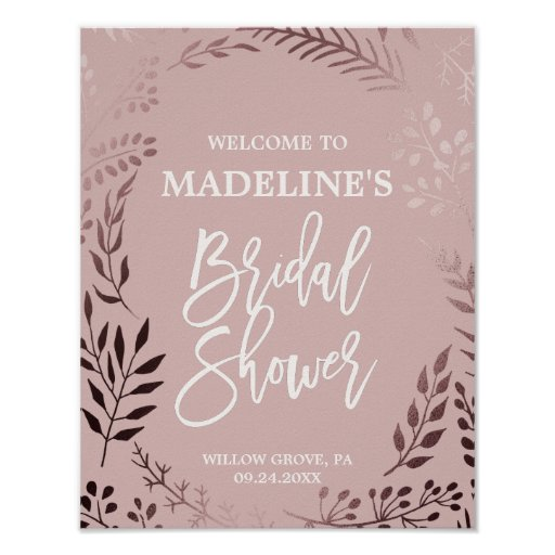 Elegant Rose Gold and Pink Bridal Shower Welcome