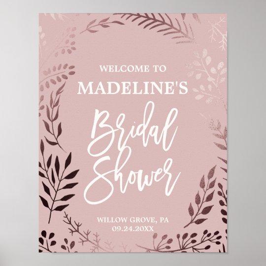Elegant Rose Gold and Pink Bridal Shower Welcome