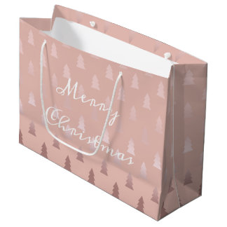 Elegant rose gold and pink Christmas tree pattern Large Gift Bag
