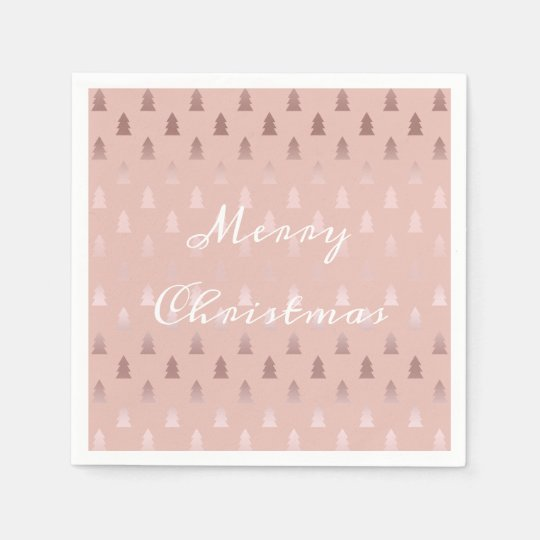 Elegant rose gold and pink Christmas tree pattern