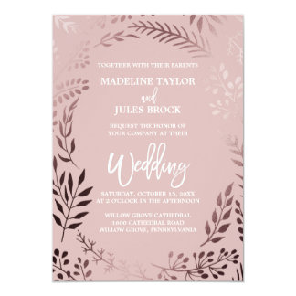 Elegant Rose Gold and Pink | Leafy Frame Wedding Card