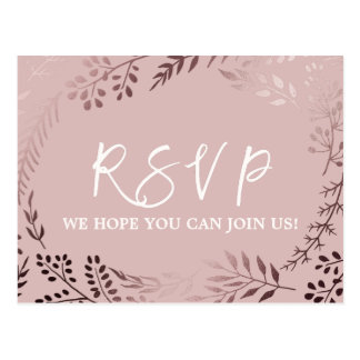 Elegant Rose Gold and Pink Menu Choice RSVP Postcard