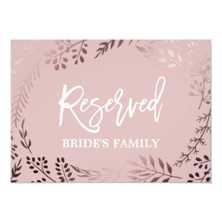 """Elegant Rose Gold and Pink Wedding """"Reserved"""" Sign Card"""