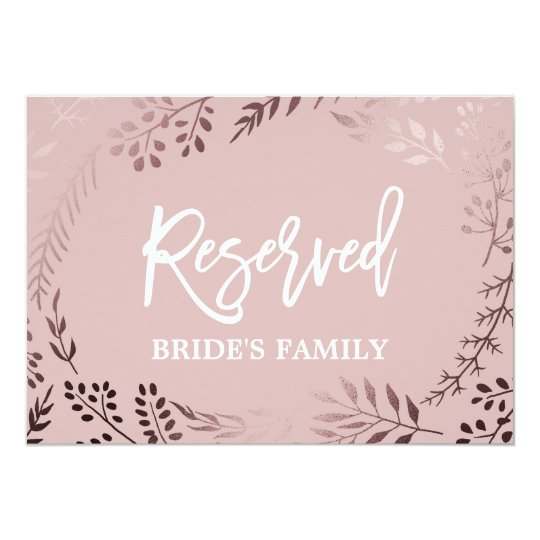 "Elegant Rose Gold and Pink Wedding ""Reserved"" Sign"