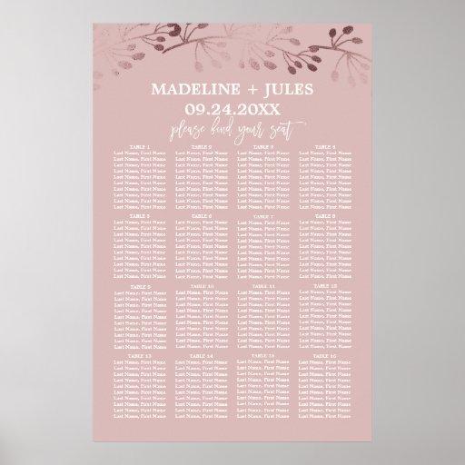 Elegant Rose Gold and Pink Wedding Seating Chart