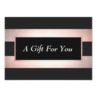 Elegant Rose Gold Black Salon Gift Certificate 11 Cm X 16 Cm Invitation Card