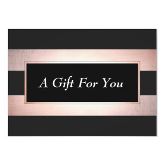 Elegant Rose Gold Black Salon Gift Certificate Card