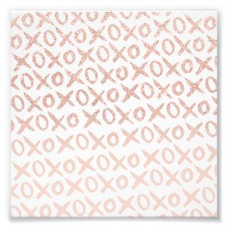 Elegant rose gold blush pink love xoxo typography photo print